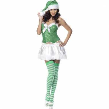 Sexy kerstjurkje dames groen en wit