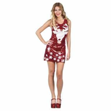 Sexy rendier jurkje rood met pailletten